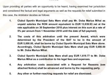 CSM Satu Mare, obligată de BAT la plata a peste 20.000 de euro către Marius Dobă