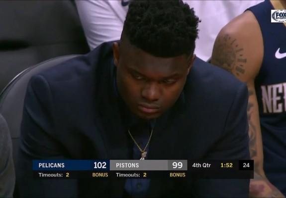 Zion Williamson a adormit la meciul echipei sale. Video