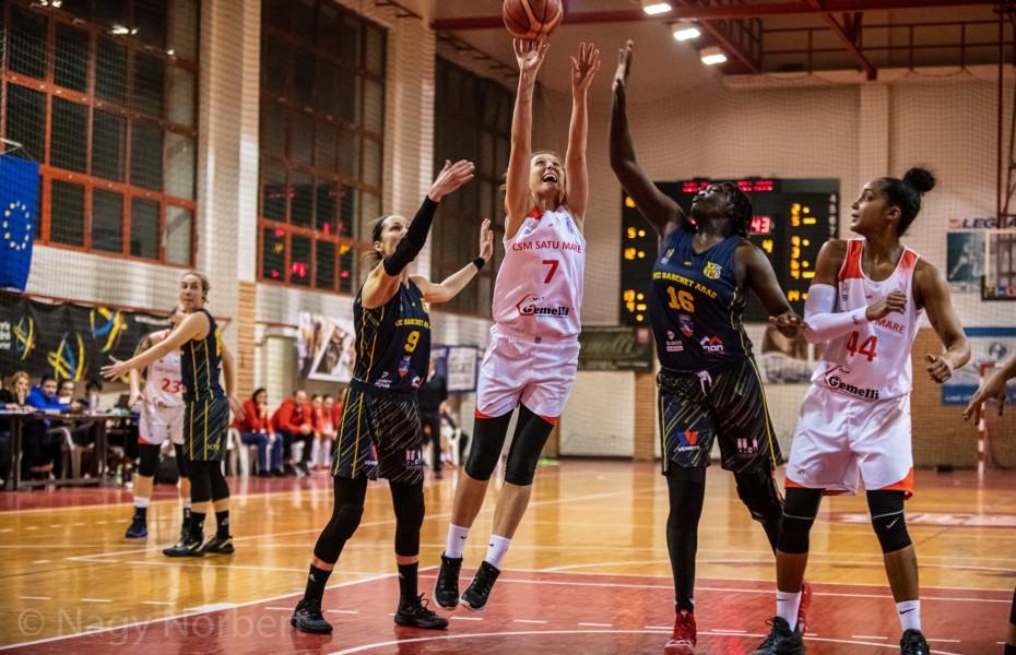 CSM Satu Mare câștigă în fața celor de la FCC Baschet Arad pe teren propriu