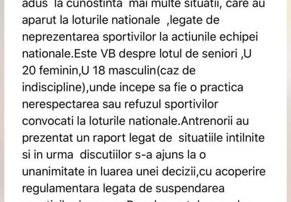 Colegiul Central al Antrenorilor a propus suspendarea mai multor jucători pentru 4 luni de zile